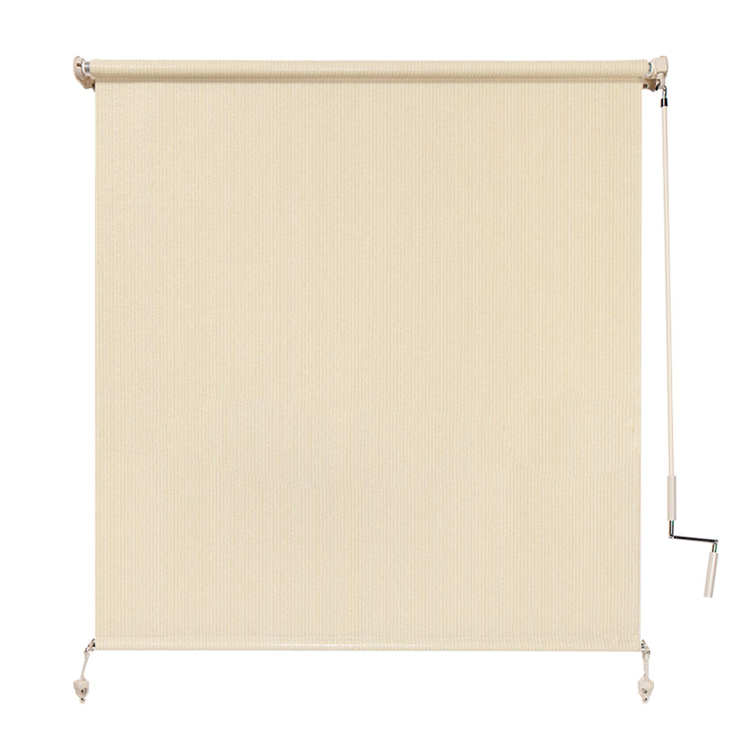 Coolaroo Exterior Roller Shade, Cordless Roller Shade with 80% UV Protection, No Valance, (4' W X 6' L), Sesame