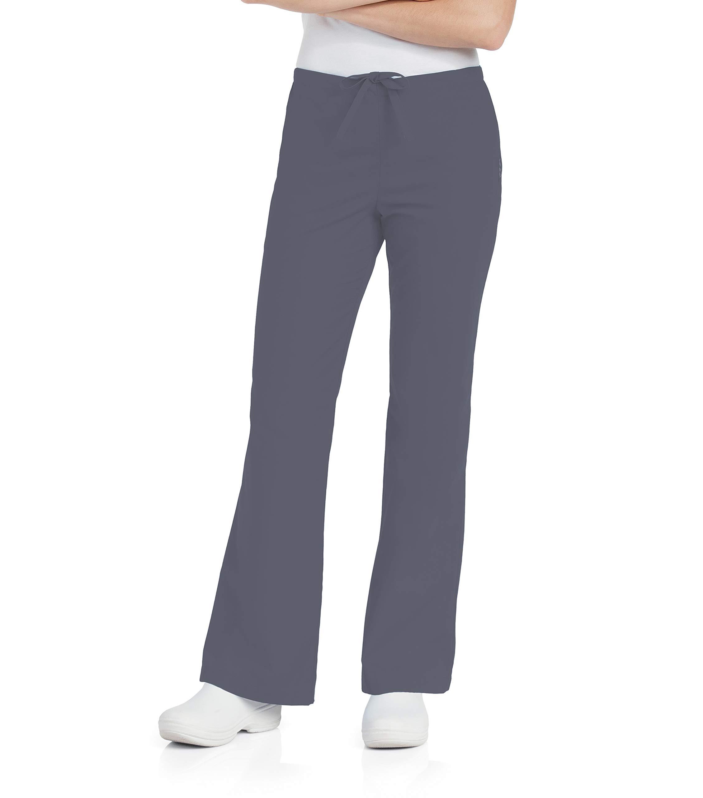 Landau Women's Natural Flare Scrub Leg Pant, Steel Grey/Steel Grey, Large Petite