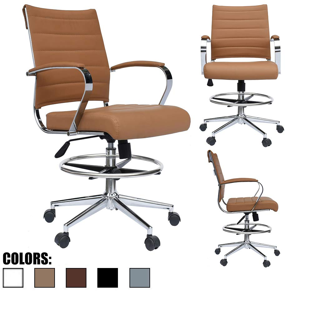 2xhome - Tan Modern Adjustable Designer Ergonomic Office Drafting Chair Tilting Seat Office PU Leather Cushion Seat with Arms Foot Rest Ribbed Computer Desk Chair