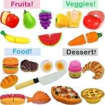 Pretend Play Food Set for Kids -Includes Fun Game Bonus- Toy Cutting Fruits, Vegetables, Bread, Hamburger, Fish, Egg, Meat, Pizza, Ice Cream - Toddlers and Kids kitchen Toy - Play Kitchen Accessories