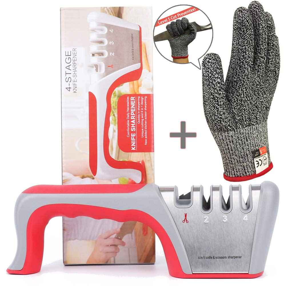 Kitchen Knife Sharpener and Scissors Sharpener - 4-Stage Knife Sharpening Tool Helps Repair, Restore and Polish Blades - Cut-Resistant Glove Included (Elephant-Red)