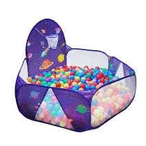 LOJETON Kids Ball Pit Pop Up Children Play Tent, Toddler Space Pool Baby Crawl Playpen with Basketball Hoop and Zipper Storage Bag - Balls Not Included