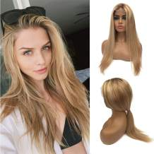 """Pre Plucked Blonde Lace Front Wigs 18"""" 150% Density Highlights Lace Part Wigs Golden Brown to Blonde Balayage Straight Brazilian Remy Human Hair Wig Middle Part 13x1 Deep Part for Women"""