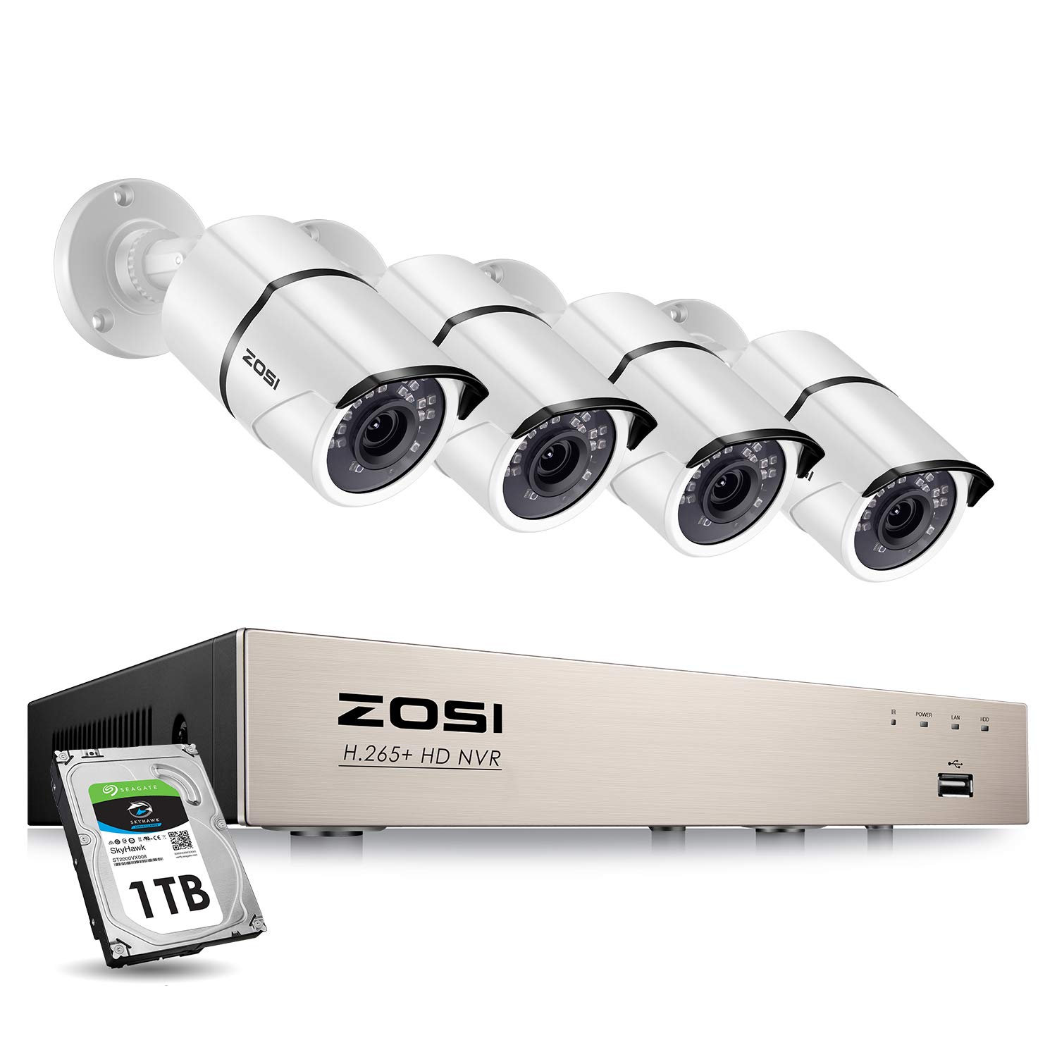 ZOSI H.265+ 8CH PoE Home Security Camera System Outdoor,5MP 8 Channel CCTV NVR Recorder with 1TB Hard Drive,4pcs HD 1080P Surveillance Weatherproof Bullet IP Camera with 100ft Long Night Vision
