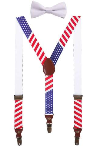 BODY STRENTH Toddlers Suspenders and Bow Tie Set Y Shape Adjustable for Wedding 24'' American Flag