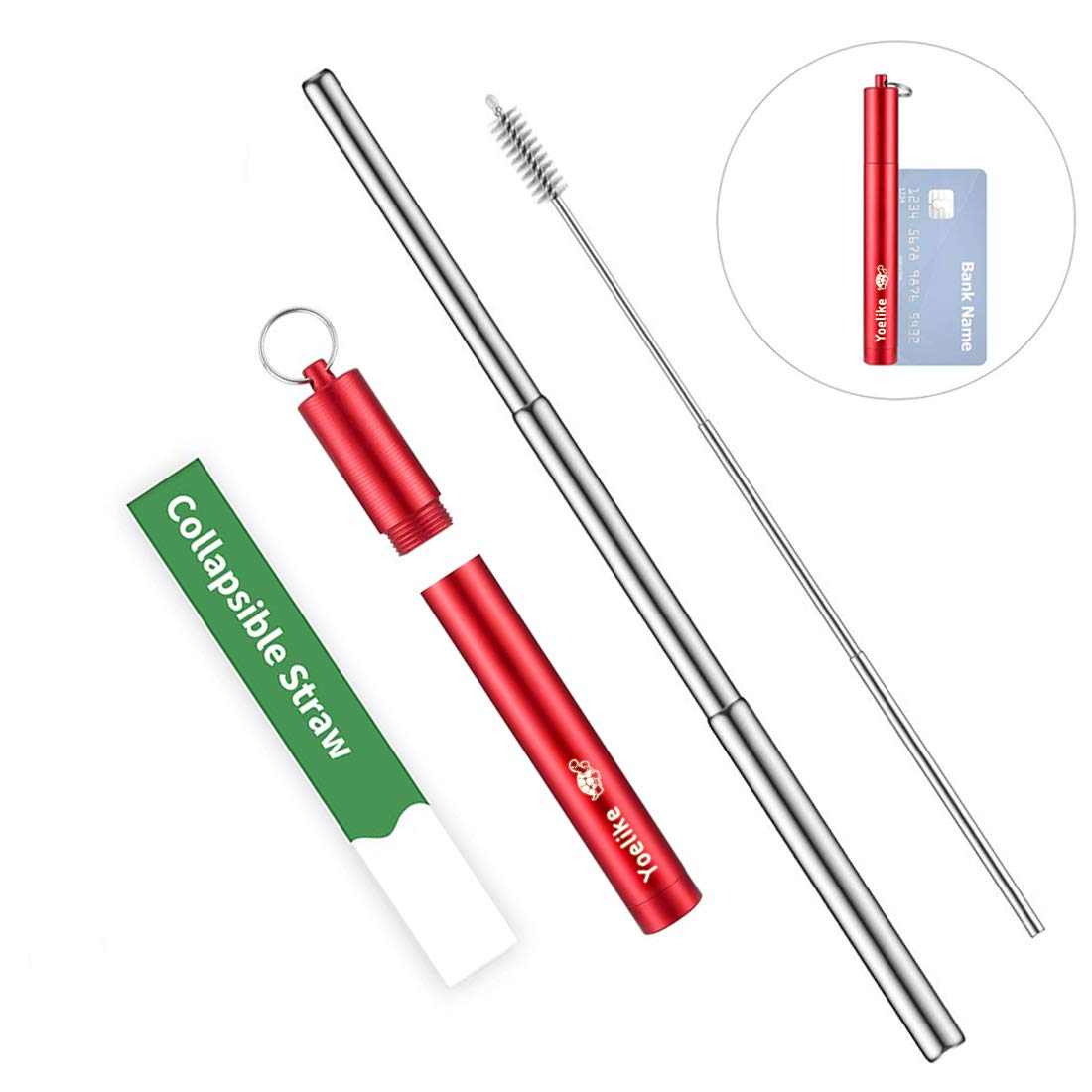Re-usable Collapsible Stainless Steel Metal Straw, Yoelike Portable Telescopic Travel Straws with Cleaner Brush, Keychain & Case, Perfect for Drinking Water, Smoothie, Juice, Milkshake, Coffe (Red)
