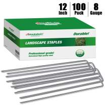 Amagabeli 12 Inch 8 Gauge Galvanized Landscape Staples 100 Pack Garden Stakes Heavy-Duty Sod Pins Anti-Rust Fence Stakes for Weed Barrier Fabric Ground Cover Artificial Turf Dripper Irrigation Tubing