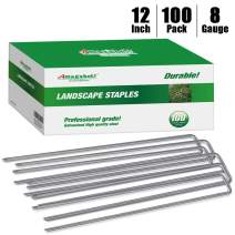 Aagut 12 Inch Galvanized Garden Tent Stakes Landscape Staples 11 Gauge Steel Sod And Fence Stake For Anchoring Tents Landscape Fabric Extra Heavy Duty 25 Pack