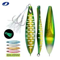 OCEAN CAT Slow Pitch Lead Metal Flat Fall Fishing Jig Lure Bait Spoons with Assisted Hook Sinking Vertical Jigging for Saltwater Offshore Fishing