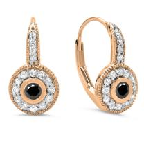 Dazzlingrock Collection 14K Ladies Cluster Halo Style Millgrain Drop Earrings, Rose Gold