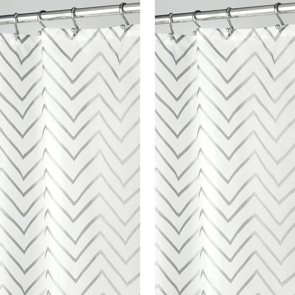 """mDesign - 2 Pack - Long Decorative Metallic Pattern, Water Repellent, Fabric Shower Curtain for Bathroom Showers and Stalls, Machine Washable - Chevron Zig-Zag Print, 72"""" x 84"""" - Silver/White"""