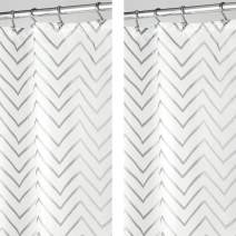 "mDesign - 2 Pack - Long Decorative Metallic Pattern, Water Repellent, Fabric Shower Curtain for Bathroom Showers and Stalls, Machine Washable - Chevron Zig-Zag Print, 72"" x 84"" - Silver/White"