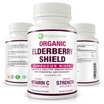 Organic Black Elderberry (Sambucus Nigra) with Black Currant Extract and Echinacea. 60 Count   Non-GMO, Sugar-Free, Natural Immune System. for Healthier Lungs. Homeopathic Remedy for Cold Relief