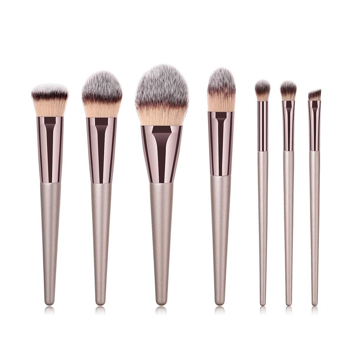 BBL 7pcs Luxury Champagne Gold Makeup Brushes Set, Premium Synthetic Hair Cosmetic Brushes for Foundation Blending Powder Liquid Cream Eyeshadow Eyebrow Blush Nose Shading Professional