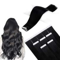 Art Hair Glue Hair 22 Inches Color 1 Jet Black 50g 20Pcs (2.5g Per Piece) Real Human Hair Extensions for Women Tape Extensions