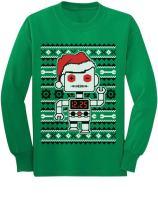 Big Santa Robot Ugly Christmas Sweater Youth Kids Long Sleeve T-Shirt