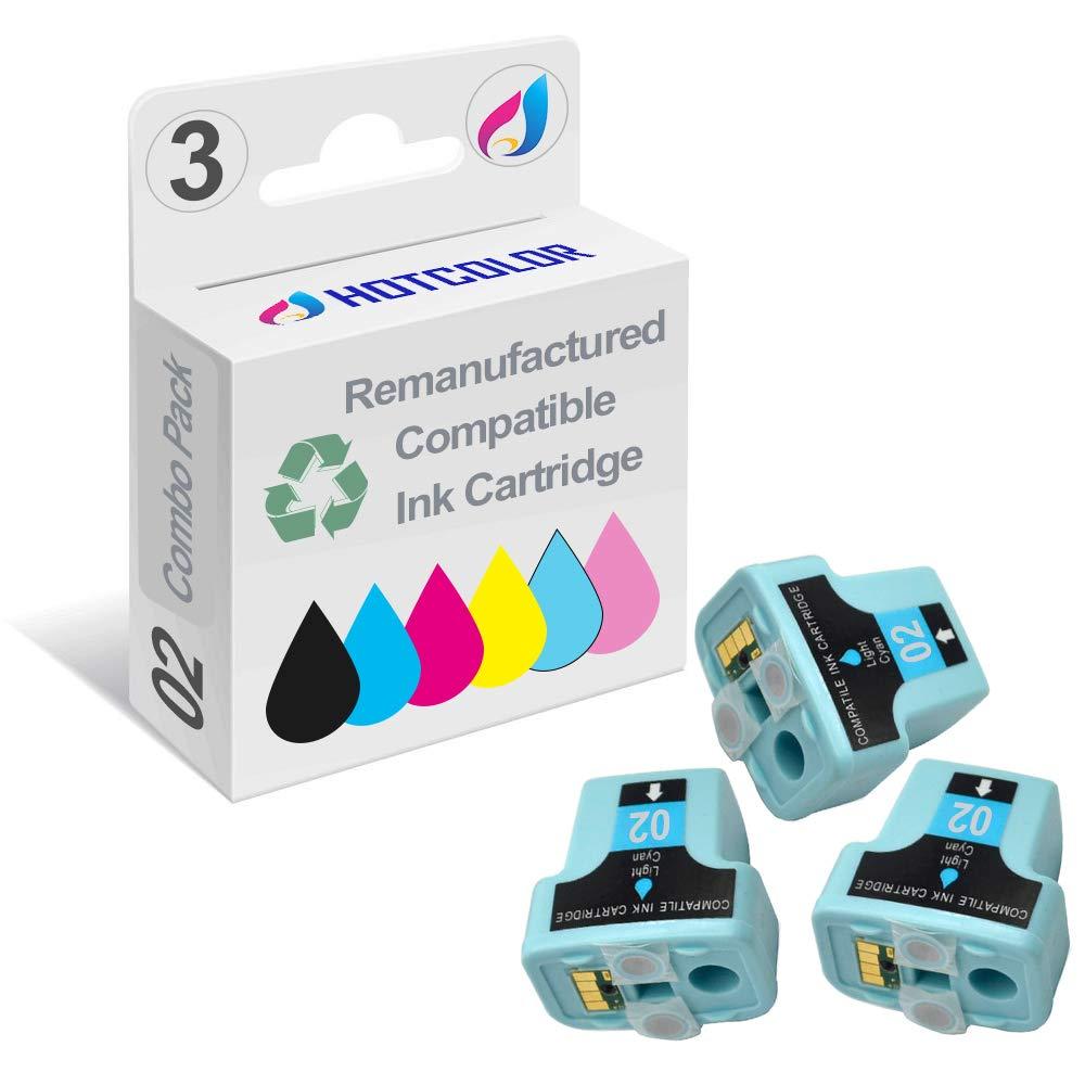 HOTCOLOR 3 Pack 02 02XL Light Cyan Remanufactured Inkjet Cartridges for HP 02XL HP02XL HP 02 Light Cyan C8774WN#140 Ink Cartridge