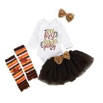 Newborn Baby Girls Outfits My First Thanksgiving Romper+Turkey Leg Warmers+Tutu Dress+Sequins Bow Headband 4PCS Clothes Set