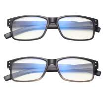 Amorays Rectangle Blue Light Blocking Computer Reading Glasses with Spring Hinge Readers for Men and Women 4202