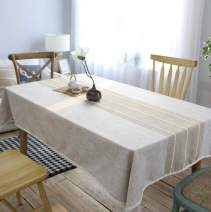"""Leadtimes Linen Lace Tablecloth 55 x 87 Inch Coffee Table Cover for Kitchen Dining Striped Sitiching Tabletop Decorative (Coffee, 55"""" x 87"""")"""