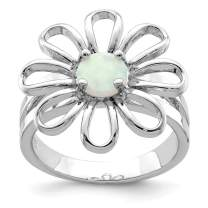 925 Sterling Silver Lab Createdopal Flower Band Ring Stone Flowers/leaf Gemstone Fine Jewelry Gifts For Women For Her