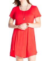 JollieLovin Women's Tunic Top Casual Short Sleeve Swing Loose T-Shirt Dress