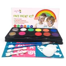 Maydear Face Body Paint Kits for Kids - 10 Colors Gold & Silver Glitter 5 Sets Stencils