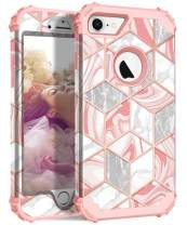 """Hocase iPhone 8 Case iPhone 7 Case, Shockproof Protection Heavy Duty Hard Plastic+Silicone Rubber Bumper Full Body Protective Case for iPhone 8, iPhone 7 (4.7"""" Display) - Pink Marble/Rose Gold Line"""
