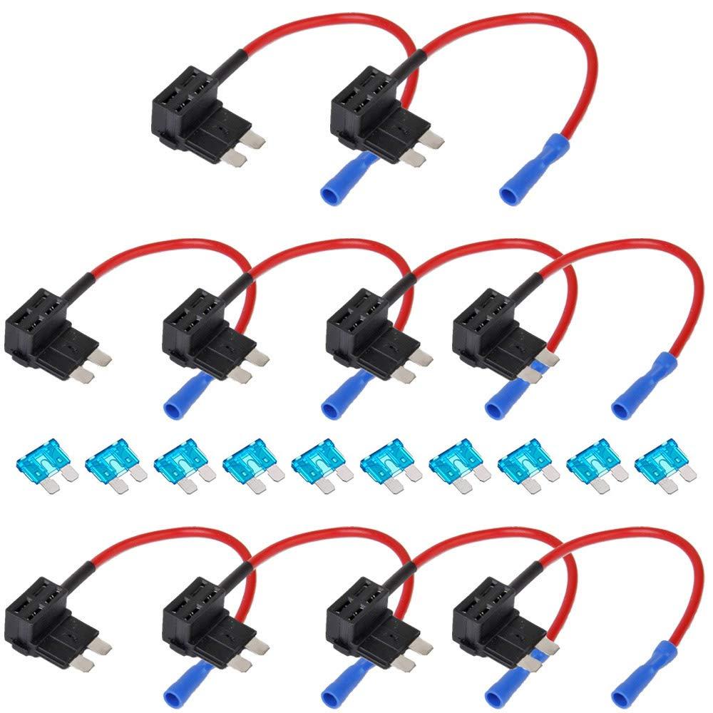 ESUPPORT 12V 24V Standard Add A Circuit Fuse Tap Piggy Back Blade Holder Plug Socket Car Pack of 10