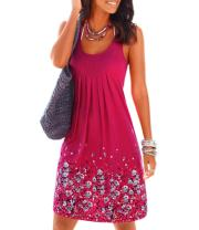 AELSON Womens Summer Casual Sleeveless Mini Printed Vest Dresses,Gray,X-Large