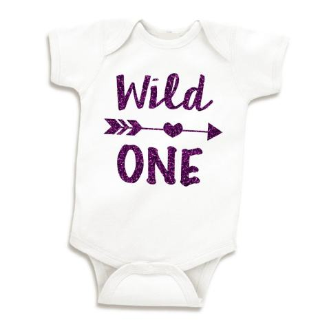 Wild One Baby Girl First Birthday Outfit One Year Old Girl (Glitter Purple 12-18 Months)