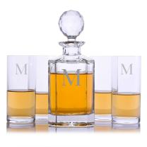 Personalized Crystalize Crystal Whiskey Liquor Decanter and 4 Crystal Highball Cocktail Glasses Engraved & Monogrammed - Perfect for Valentine's Day, Engagement or Wedding Gift