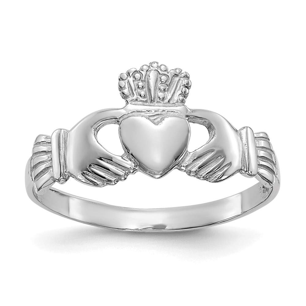 14k White Gold Ladies Irish Claddagh Celtic Knot Band Ring Size 6.50 Fine Mothers Day Jewelry For Women Gifts For Her