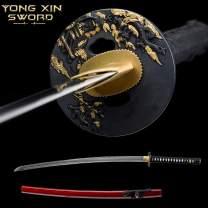 YONG XIN SWORD Samurai Katana Sword Japanese Full Tang Sharp 1060 Carbon Steel Damascus Real Handmade Clay Tempered