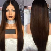 Human Hair Wigs Ombre 1B/30 Lace Front Wig Straight Full Lace Wigs Brown With Dark Roots Medium Size And Medium Brown Lace (20 inch, Lace Front Wig)