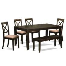 6 PC Kitchen Table with bench-Table with Leaf 4 Kitchen Dining Chairs and Bench