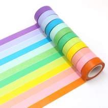 Manzawa Rainbow Washi Masking Tape Set of 12 Rolls, Colorful Washi Tape Assorted Pure Colors…