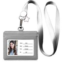 Leather ID Badge Holder, Horizontal Genuine Leather ID Badge Holder with 1 Clear ID Window & 1 Credit Card Slot and a Detachable Neck Lanyard-Gray