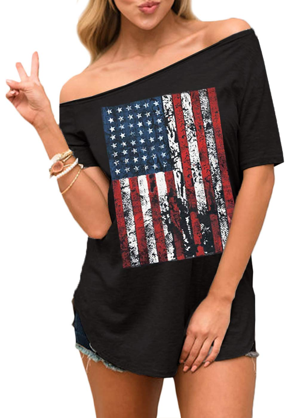 Spadehill Women's July 4th American Flag Off Shoulder Tops