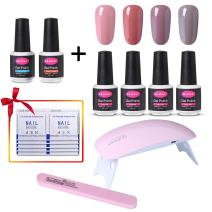CLAVUZ Gel Nail Polish Set Top and Base Coat Nail Polish SUNMINI LED Nail Lamp Nail File Remover Wrap New Starter Nail Art Tool Kit