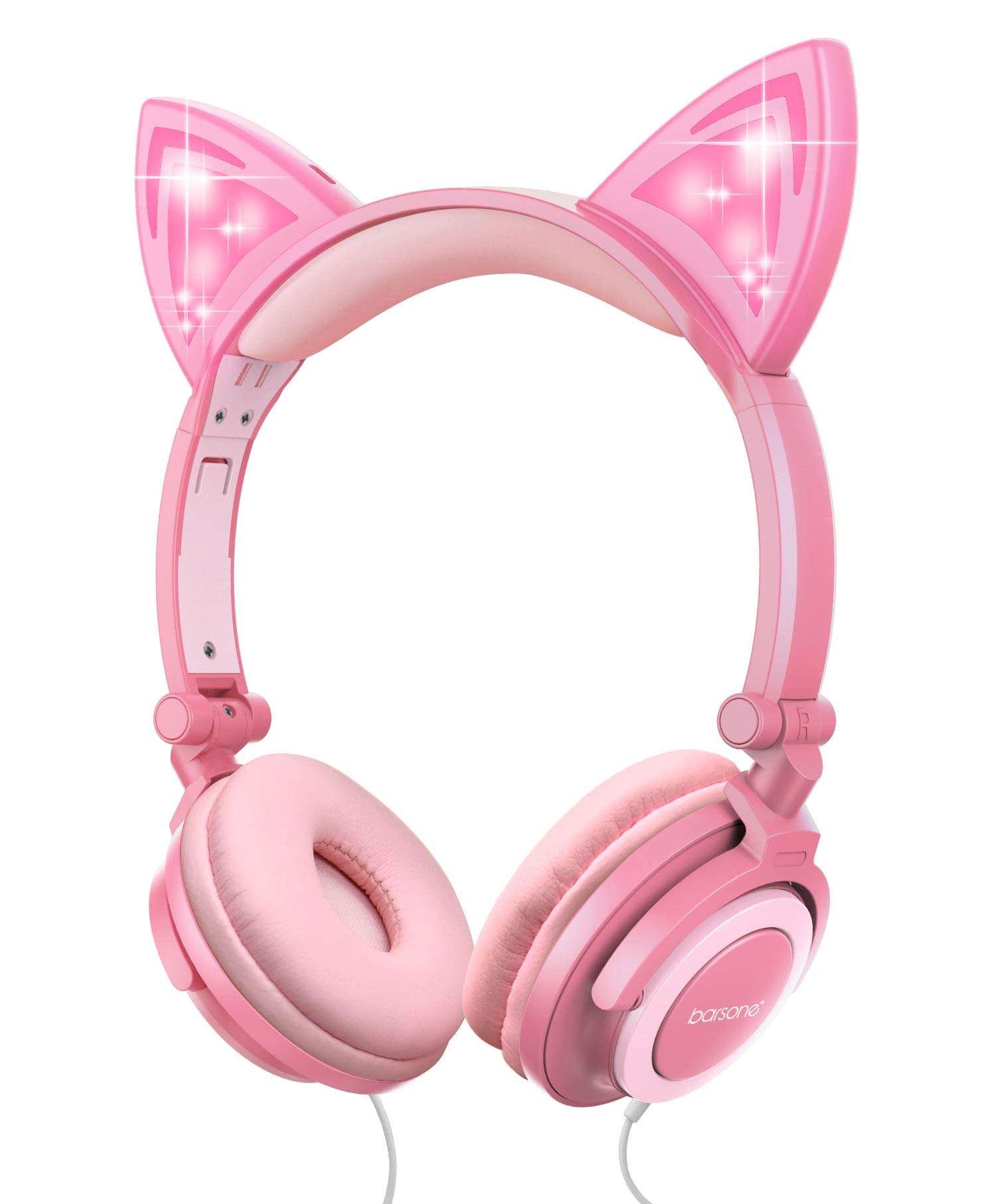 Kids Cat Ear Headphones for Girls Tablet School Supplies Gifts, Light Up Wired Adjustable Kids Headphones Foldable Over Ear Game Headset for Travel Birthday Christmas(Peach)