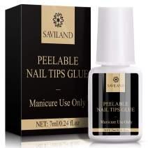 Saviland Nail Glue for Acrylic Nails - Peelable Nail Glue Brush on Nail Glue for Press on Nails,Professional Super Adhesive & Long Lasting Nail Glue