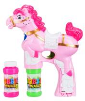 Fun Central LED Pony Bubble Gun for Kids & Toddlers - Light Up Bubble Blower with 2 Refills