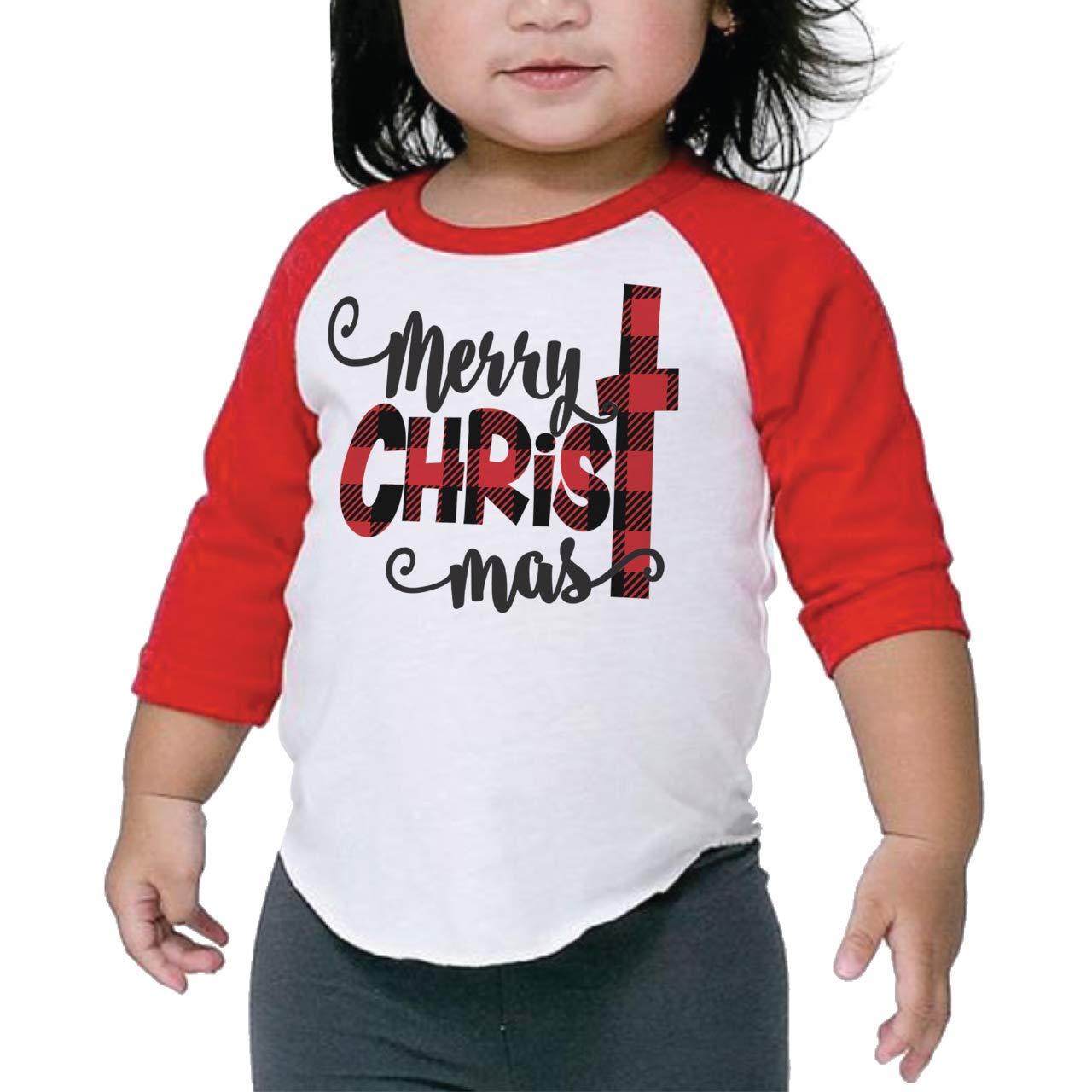 Bump and Beyond Designs Toddler and Kids Buffalo Plaid Merry Christmas Shirt Boy and Girl 3/4 Sleeve Holiday Raglan