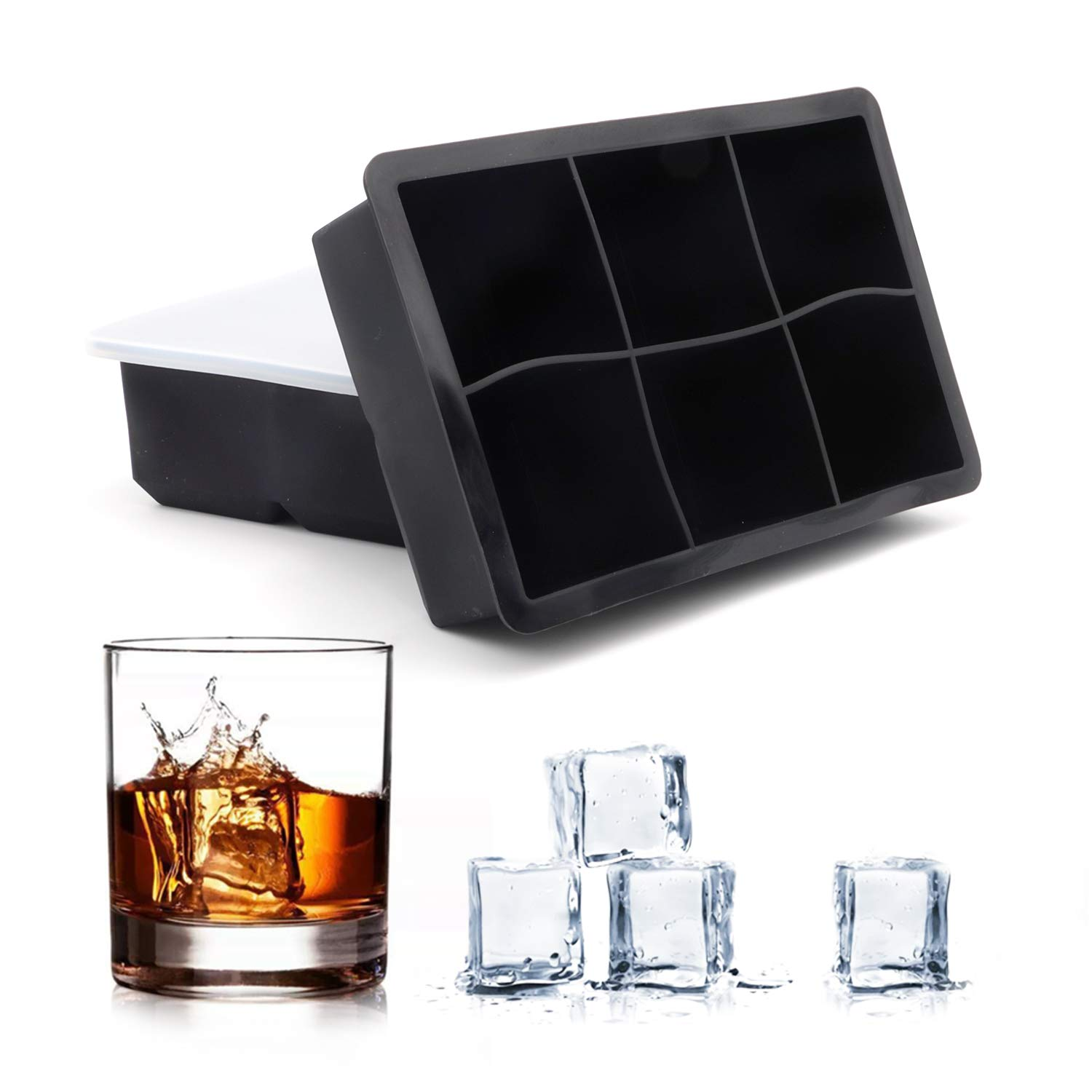 JevoiSonne Ice Cube tray Silicone Ice Cube Molds for Whiskey and Cocktails and Homemade Beverages,Keep Drinks Cool For A Long Time , Easy Release Reusable and Bpa Free (6x2)