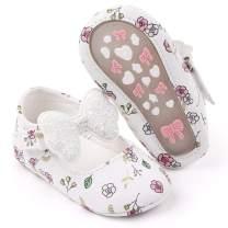 Sawimlgy Baby Girls Flower Mary Jane Flats with Bow Anti Slip Hard Sole Infant Crib Shoes Princess Dress Wedding Shoes