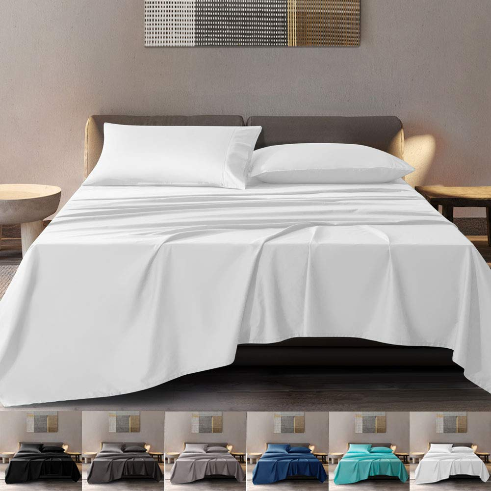 SONORO KATE 100% Pure Egyptian Cotton Sheets Sets,Cooling Bed Sheets 600 Thread Count Long Staple Cotton,Sateen Weave for Soft and Silky Feel, Fits Mattress 16'' Deep Pocket (White, California King)