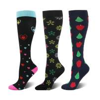 HLTPRO Compression Socks for Women & Men - 3 Pairs Knee High Socks for Flight, Travel, Nurses, Pregnancy, Edema