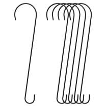 FEED GARDEN 23 Inch Metal Tree Branch Hook, 1/4 Inch Diameter Rust Resistant Hanging Black S Shaped Hooks for Bird Feeders and Baths, Planters, Lanterns, Ornaments and More, 6 Pack