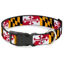 Buckle-Down Dog Collar Plastic Clip Maryland Flags Available In Adjustable Sizes For Small Medium Large Dogs